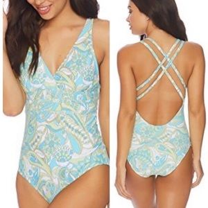 NWT Athena Paisley Strappy Back One Piece Swimsuit